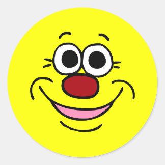 Cara sonriente tranquila Grumpey Pegatina Redonda