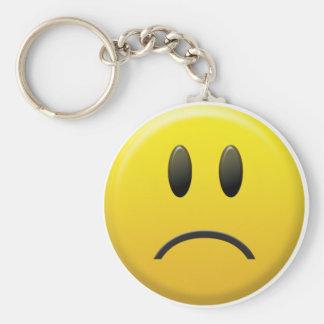 Cara sonriente triste llavero redondo tipo pin