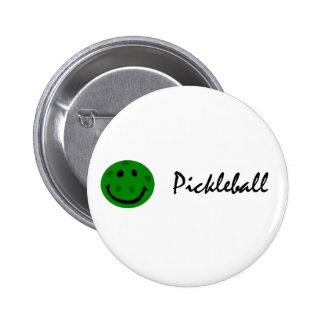 Cara sonriente verde divertida de Pickleball Pin Redondo De 2 Pulgadas