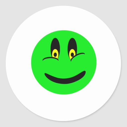 Cara sonriente verde pegatina redonda