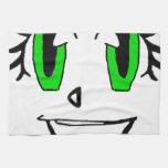 Cara sonriente verde toalla de mano