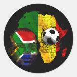 Cara surafricana de la bandera de los amantes del pegatina redonda