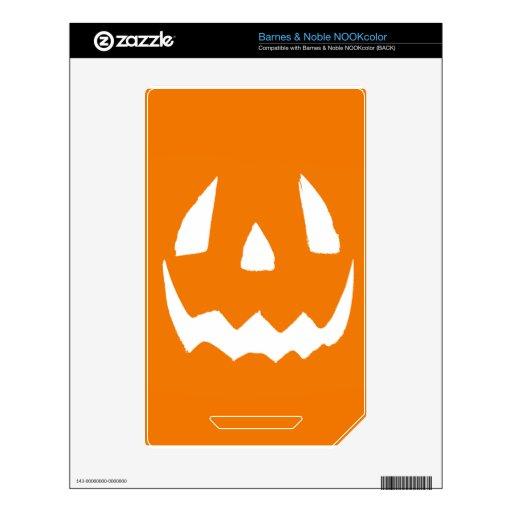 Cara tallada de la calabaza de Halloween Calcomanía Para NOOK Color