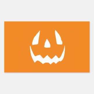 Cara tallada de la calabaza de Halloween Pegatina Rectangular