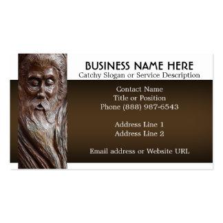 Cara tallada en madera plantilla de tarjeta de negocio