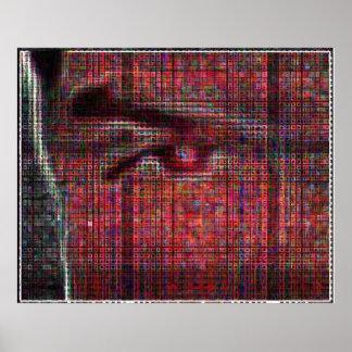 cara tessellated (versión a todo color) póster