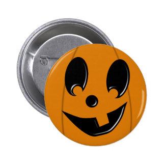 Cara tonta de la Jack-O-Linterna con un botón del  Pin Redondo De 2 Pulgadas