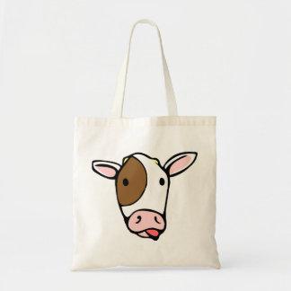 Cara tonta de la lengua de la vaca bolsa tela barata