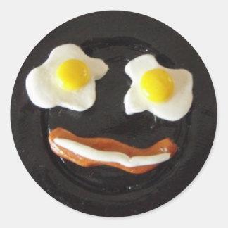 Cara tonta del desayuno pegatina redonda