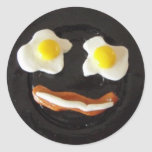 Cara tonta del desayuno pegatinas redondas