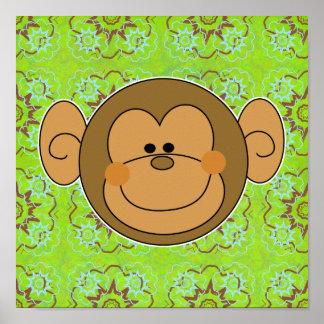 Cara tonta linda del mono poster