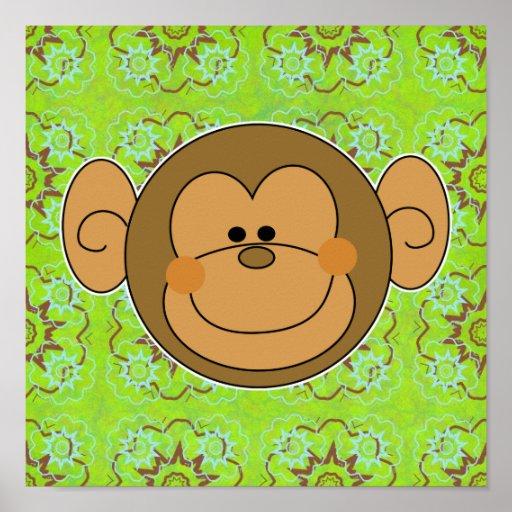 Cara tonta linda del mono póster