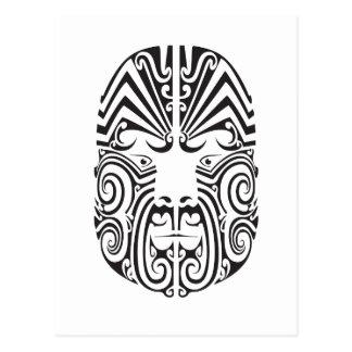 Cara tribal del tatuaje tarjeta postal