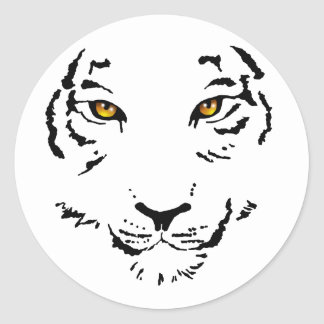 Cara tribal del tigre etiquetas redondas