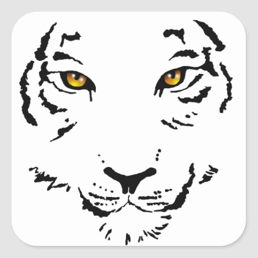 Cara tribal del tigre pegatina cuadrada