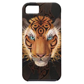 Cara tribal llameante del tigre iPhone 5 Case-Mate fundas