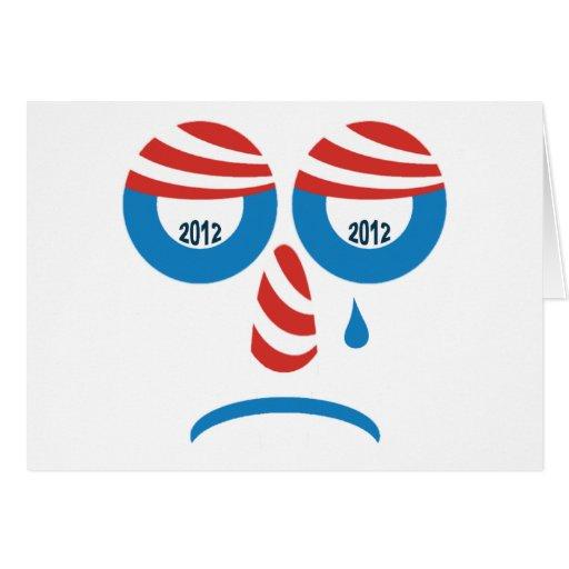 Cara triste de Obama 2012 Tarjeta De Felicitación