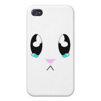 Cara triste del conejito de Kawaii iPhone 4 Fundas