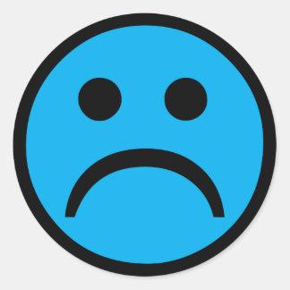 Cara triste pegatina redonda