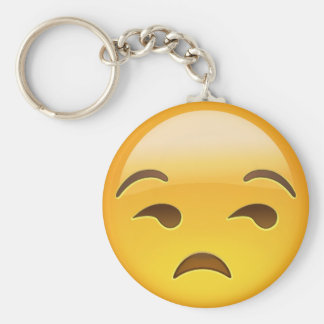 Cara Unamused Emoji Llavero Redondo Tipo Pin