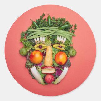 Cara vegetal pegatina redonda