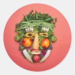 Cara vegetal pegatinas redondas