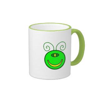Cara verde del monstruo de los Cyclops Taza De Dos Colores