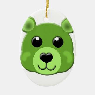 cara verde del oso de peluche adorno navideño ovalado de cerámica