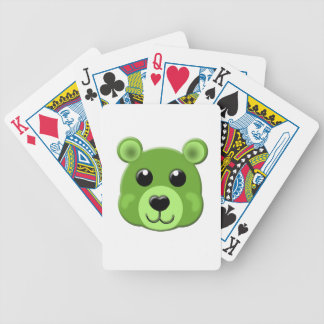 cara verde del oso de peluche baraja cartas de poker
