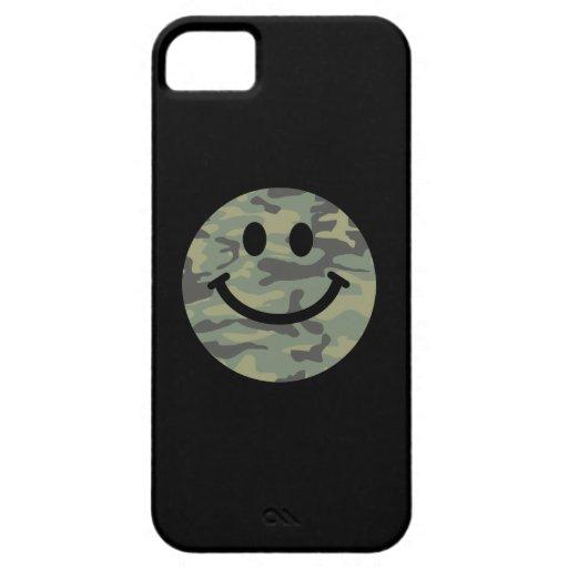 Cara verde del smiley de Camo iPhone 5 Fundas