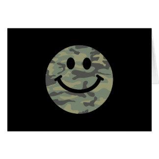Cara verde del smiley de Camo Felicitacion