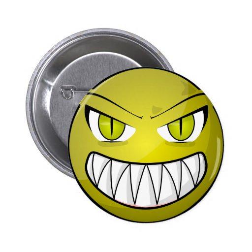 Cara verde enojada asustadiza del dibujo animado pin redondo 5 cm