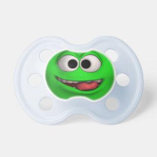 Cara verde linda del Emoticon Chupete