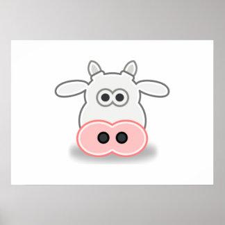 Cara y cabeza de la vaca del dibujo animado posters
