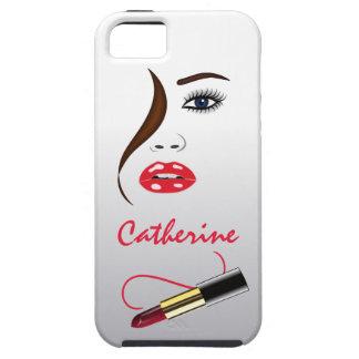 Cara y lápiz labial en el caso del ambiente del funda para iPhone SE/5/5s