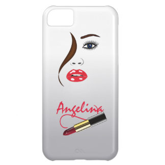 Cara y lápiz labial en el caso del iPhone 5C del e