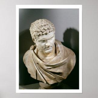 Caracalla, el mármol romano cuirassed el busto, AN Póster