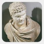 Caracalla, el mármol romano cuirassed el busto, calcomanía cuadradas personalizada