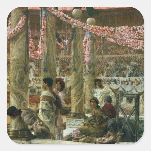 Caracalla y Geta, 1907 (aceite en lona) Pegatinas Cuadradas