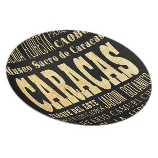 Caracas City of Venezuela Typography Art Plate