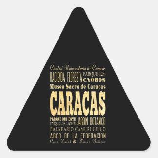 Caracas City of Venezuela Typography Art Triangle Sticker