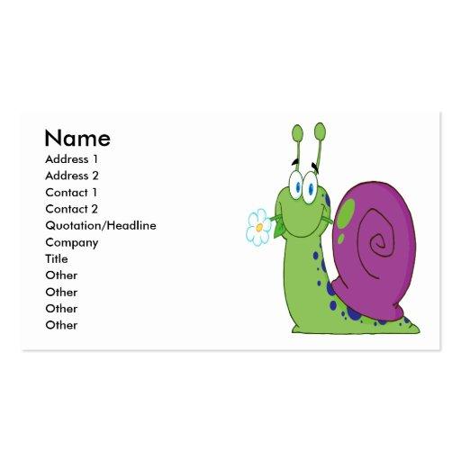 caracol colorido del dibujo animado feliz con la f tarjetas de negocios