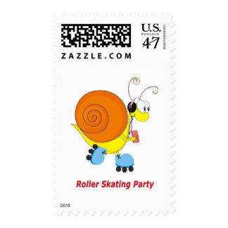 Caracol en el fiesta patinador de los pcteres de sello postal