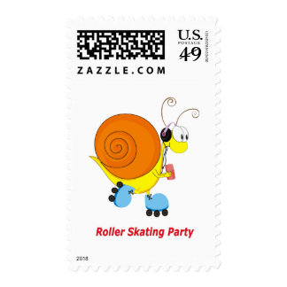 Caracol en el fiesta patinador de los pcteres de sellos