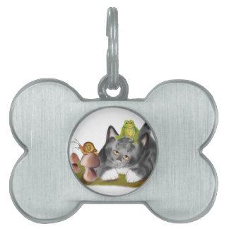 Caracol en Toadstool con la rana en gatito Placa De Mascota