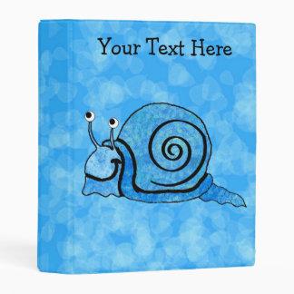 Caracol feliz azul modelado bonito del dibujo mini carpeta