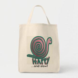 Caracol feliz y lento bolsa tela para la compra