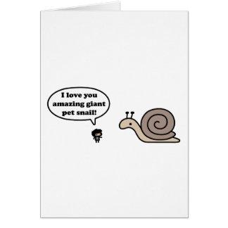 Caracol gigante asombroso del mascota tarjeta de felicitación