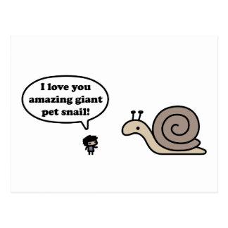 Caracol gigante asombroso del mascota tarjetas postales