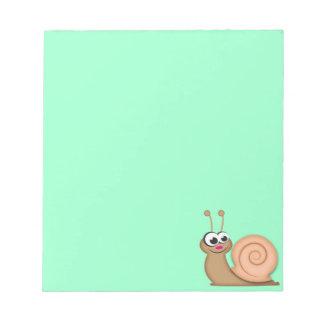 Caracol lindo del dibujo animado libretas para notas